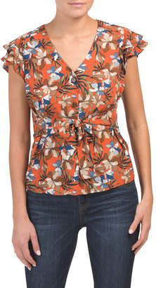 Juniors Ruffle Sleeve Palm Floral Woven Top