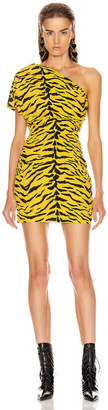 Saint Laurent One Shoulder Tiger Mini Dress in Yellow & Black | FWRD