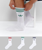 adidas 3 Pack Solid Crew Socks In White Ce4991