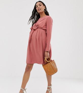 Asos DESIGN Maternity Nursing mini wrap dress with long sleeves in pink