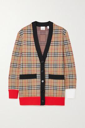 Burberry Checked Merino Wool-blend Cardigan - Beige