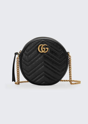 Gucci GG Marmont Mini Round Chevron Crossbody Bag