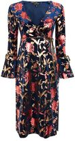 Topshop Foil floral plunge wrap dress