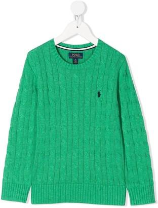 Ralph Lauren Kids cable-knit logo jumper