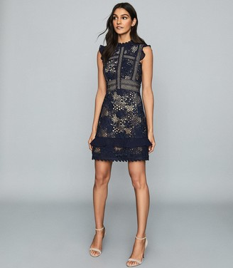 Reiss LENA RUFFLE-TRIM LACE DRESS Navy