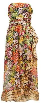 Dundas Ruffled Floral-print Silk-blend Chiffon Dress - Womens - Multi