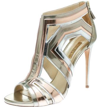Casadei Tricolor Metallic Leather Cut Out Peep Toe Sandals Size 41