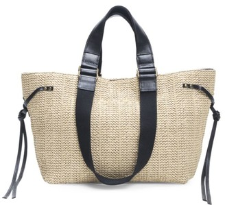 Isabel Marant Bagya Leather-Trimmed Woven Tote