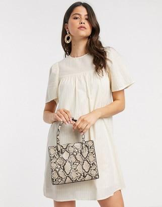 Vero Moda Aware mini smock dress in cream stripe