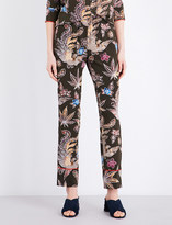 Sandro Bird and floral-print silk trousers
