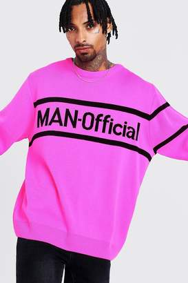 boohoo MAN Oversized Official Knitted Jumper