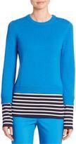 Michael Kors Striped Cashmere & Cotton Pullover