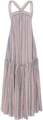 Three Graces London Gathered Striped Linen-blend Maxi Dress