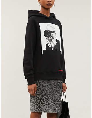 Selfridges Karl According To Carine Leopard-print high-waist faux-fur midi skirt