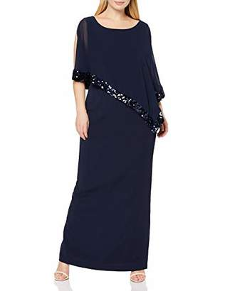 Gina Bacconi Women's Sequin Trim Crepe and Chiffon Maxi Dress