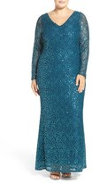 Marina Long Sleeve Sequin Lace Column Gown (Plus Size)