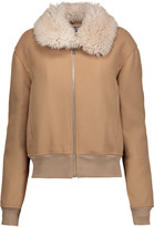 J.W.Anderson Shearling-trimmed embroidered wool-blend bomber jacket
