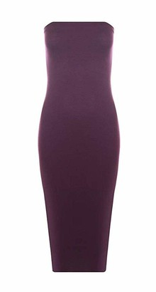 High Street Fashion Women's Ladies Plain Off Shoulder Boob Tube Midi Dress Strapless Stretch Bodycon Long Midi 8-10 12-14 (12-14) Coral