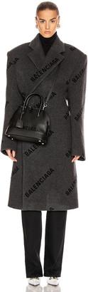 Balenciaga Logo Shifted Coat in Anthracite & Black   FWRD
