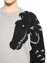Viktor & Rolf Angora Crocodile Patch Wool Knit Sweater