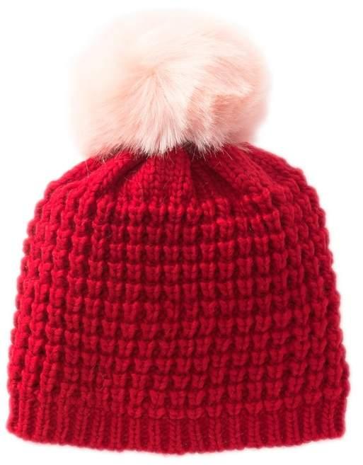 35f85a758 Kyi Kyi Faux Fur Pompom Wool Blend Classic Beanie