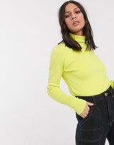 Weekday roll neck fine gauge sweater in neon yellow