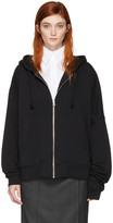 MM6 MAISON MARGIELA Black Asymmetric Zip Hoodie