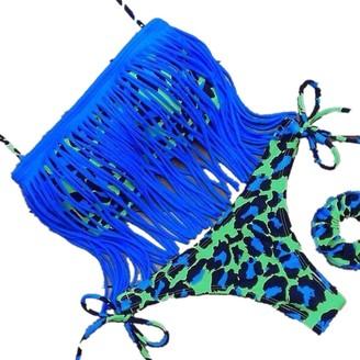 Clode Women Bikini Women Tassel Sexy Bikini Set Pad Up Swimsuits Fringe Top Swimwear Beachwear Fringed Bikini Swimsuit Series (L