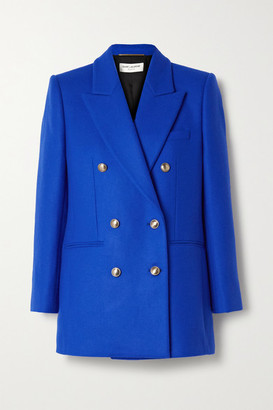 Saint Laurent Double-breasted Wool And Cashmere-blend Felt Blazer - Royal blue