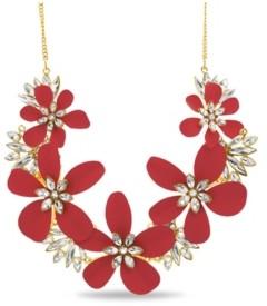 Catherine Malandrino Rhinestone Flower Curb Chain Necklace in Yellow Gold-Tone Alloy