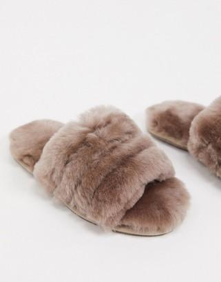ASOS DESIGN Zola premium sheepskin slippers in mink