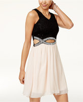 Speechless Juniors' Embellished Cutout Dress