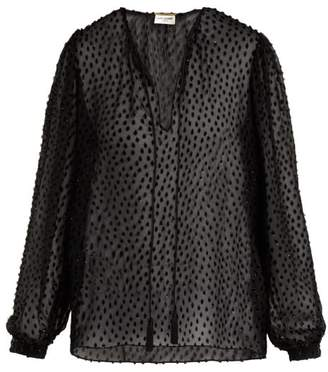 Saint Laurent Silk-crepe Devore Blouse - Womens - Black