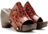 Chloé Embossed Leather Platform Clogs