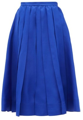 Rochas Pleated Silk-gazar Skirt - Blue