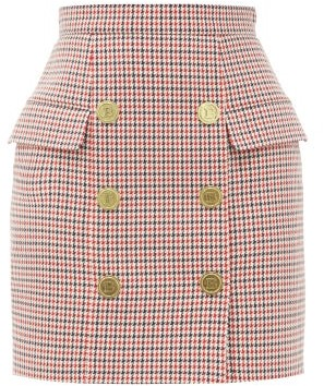 Balmain Buttoned High-rise Houndstooth Wool Mini Skirt - Red Multi