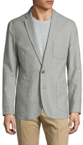 Shades of Grey by Micah Cohen Line Linen Notch Lapel Blazer