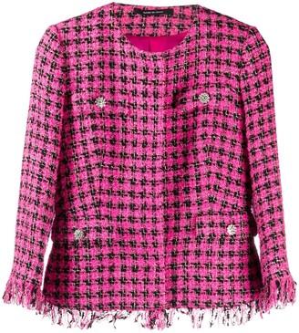 Tagliatore Meg fringed tweed jacket
