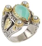 Konstantino Amphitrite 3-4MM White Pearl, Blue Agate and Sterling Silver Ring