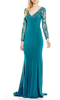 Terani Couture Beaded Illusion Long Sleeve V-Neck Gown