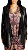 City Chic Plus Size Women's Faux Leather Drape Front Jacket