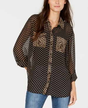 INC International Concepts Inc Dot and Leopard Print Button-Up Shirt, Created for Macy's