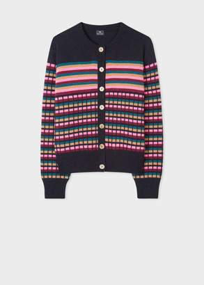 Women's Navy Stripe And Check Wool-Blend Cardigan