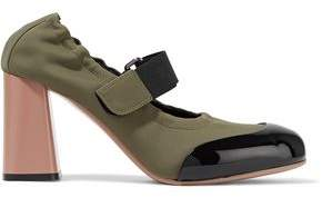 Marni Patent Leather-trimmed Neoprene Mary Jane Pumps