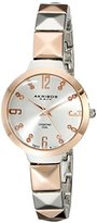 Akribos XXIV Women's AK793TTR Swiss Quartz Movement Watch with Silver Dial and Two Tone Pyramid Cut Bracelet