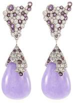 Roberto Coin Diamond jade 18k white gold teardrop earrings