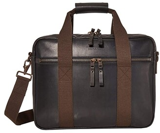 Filson Dawson Leather Briefcase (Black) Handbags