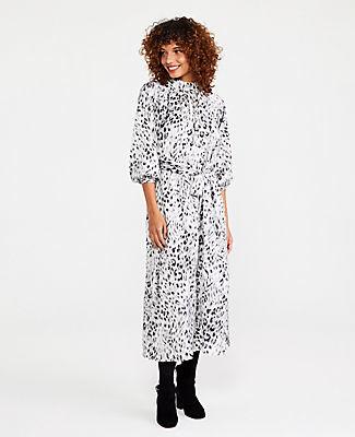 Ann Taylor Snow Leopard Print Tie Waist Midi Dress