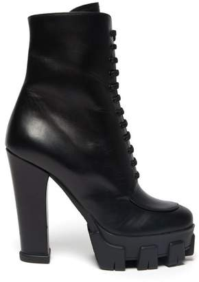 Prada Exaggerated Tread Sole Lace Up Leather Boots - Womens - Black