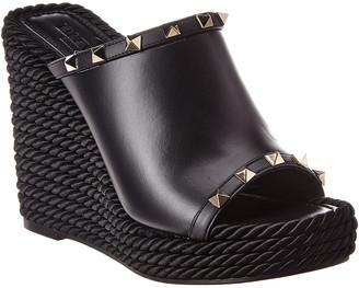 Valentino Rockstud 115 Leather Wedge Sandal